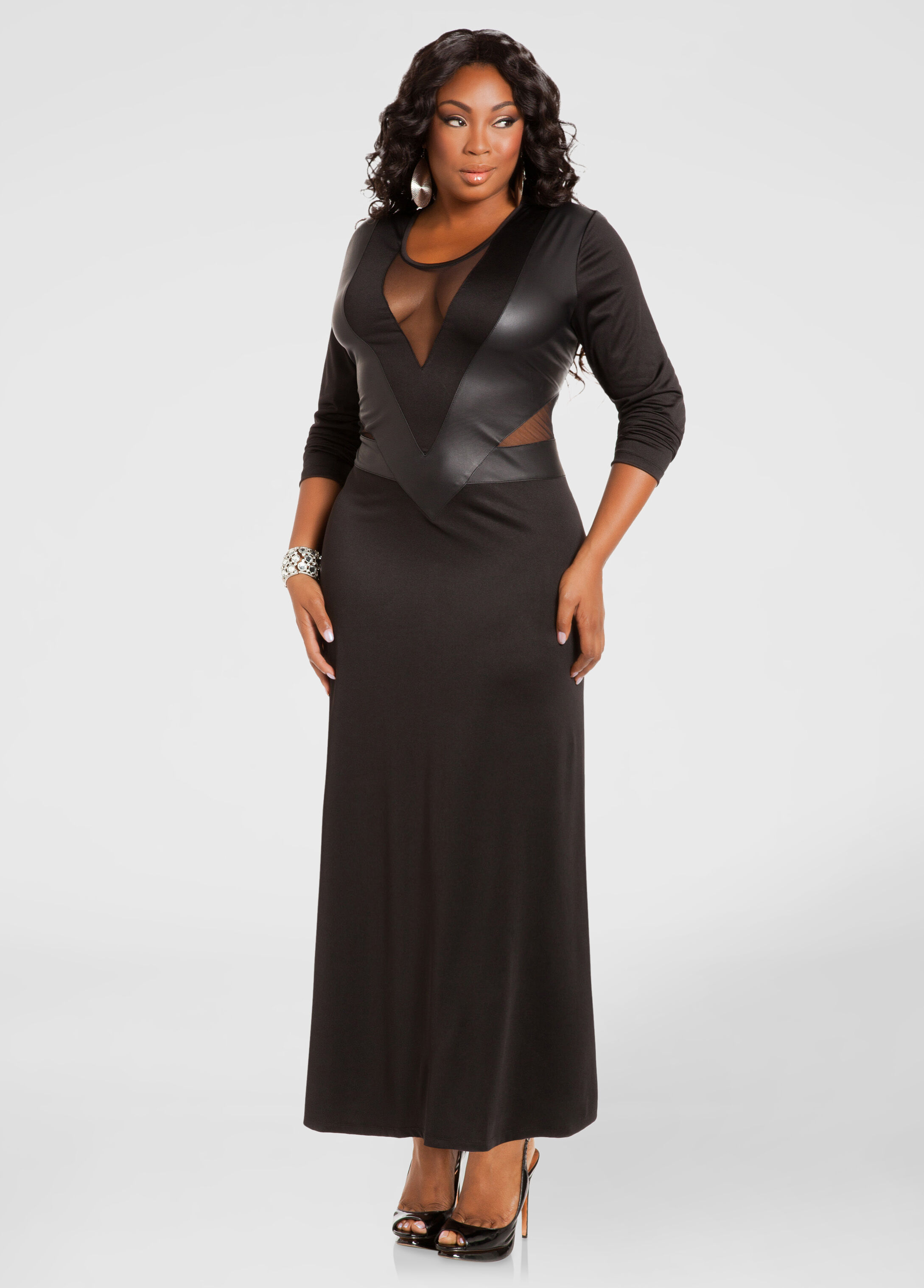 Black maxi dress for plus size
