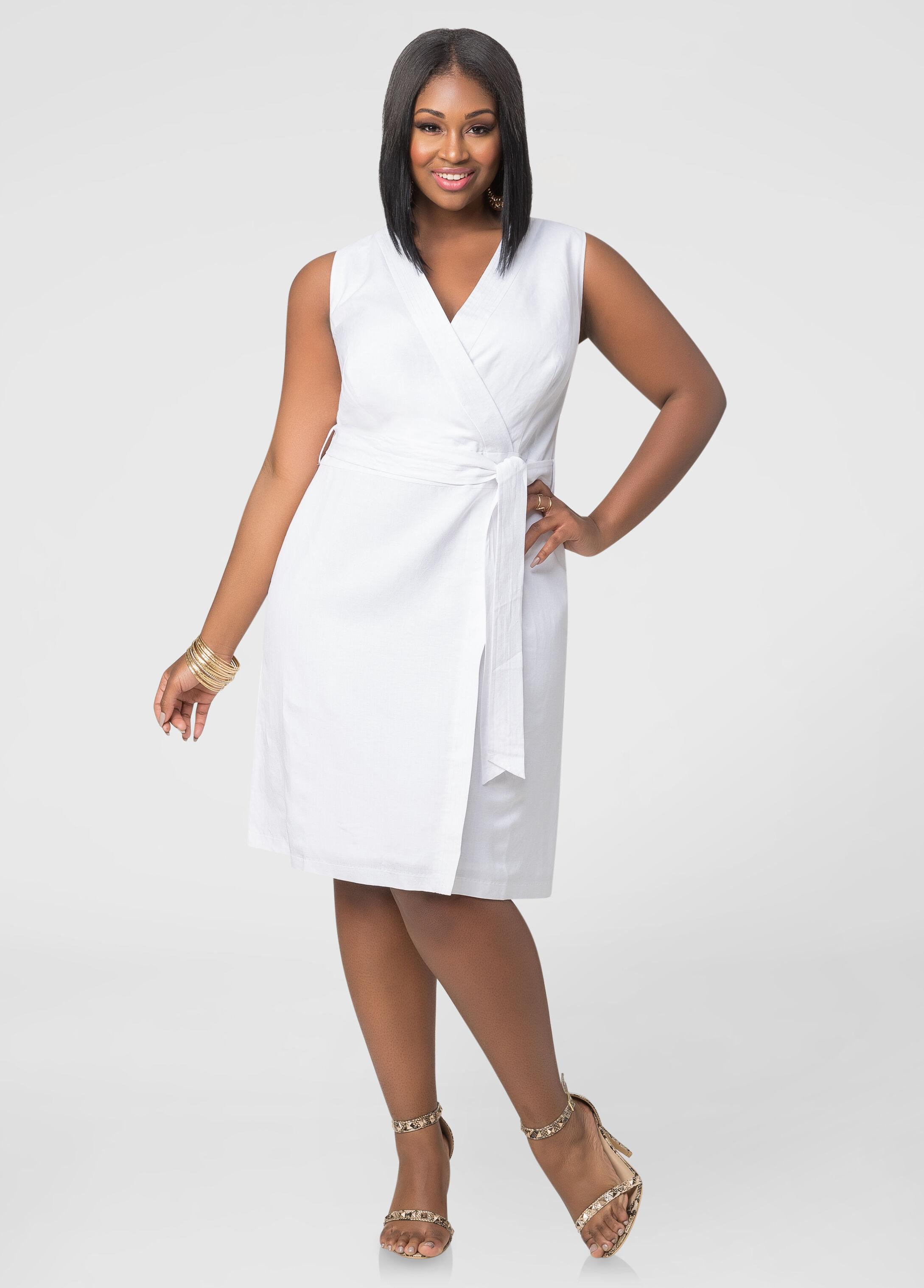 Faux Wrap Linen Dress-Plus Size Dresses-Ashley Stewart-010-553545A