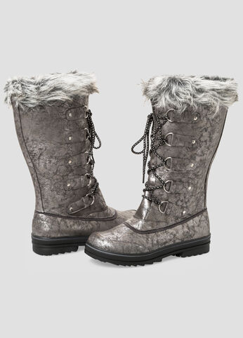 Lace-Up Fur Top Snow Boot-Wide Calf Boots-Ashley Stewart-068 ...
