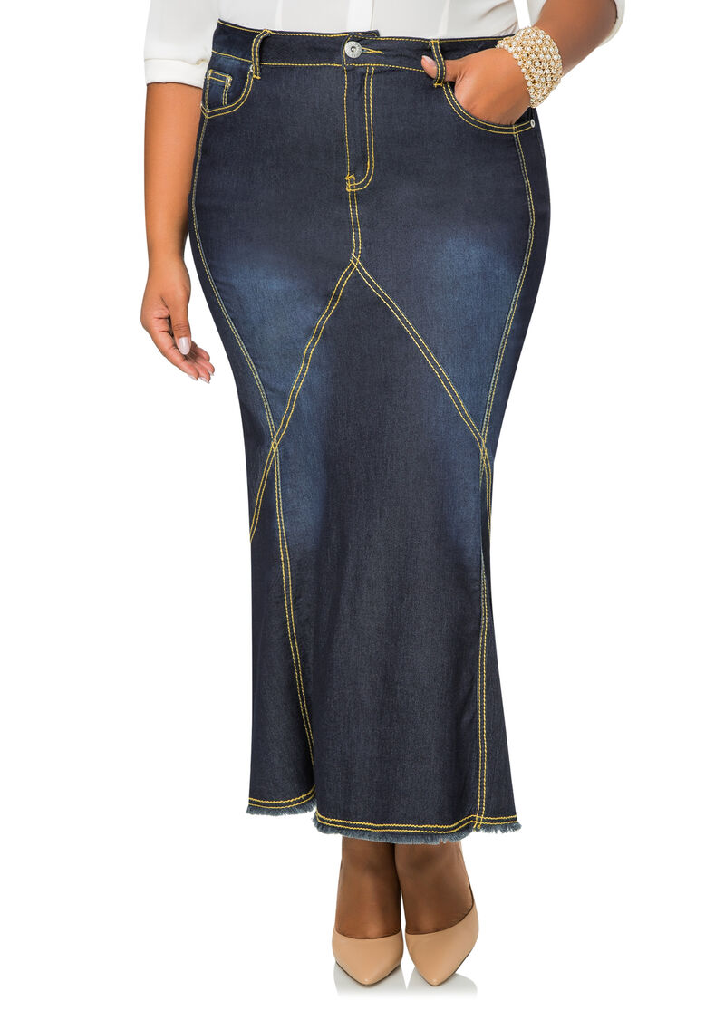 Contrast Stitch Long Denim Jean Skirt-Plus Size Denim Jeans-Ashley ...