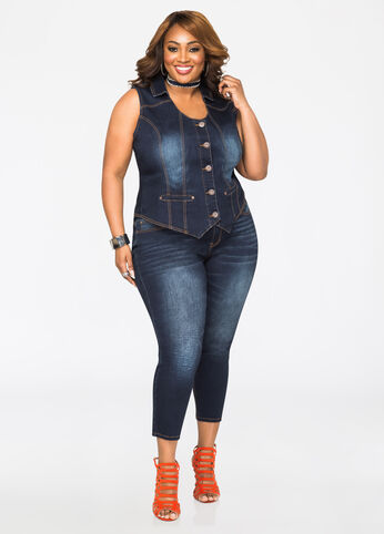 Plus Size Outfits - Denim Diva - Dark Wash