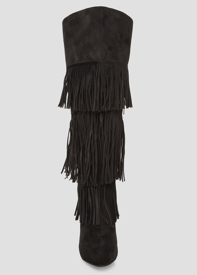 Plus Size Fringe Knee High Boot - Wide Calf, Wide Width 068-ASH29977