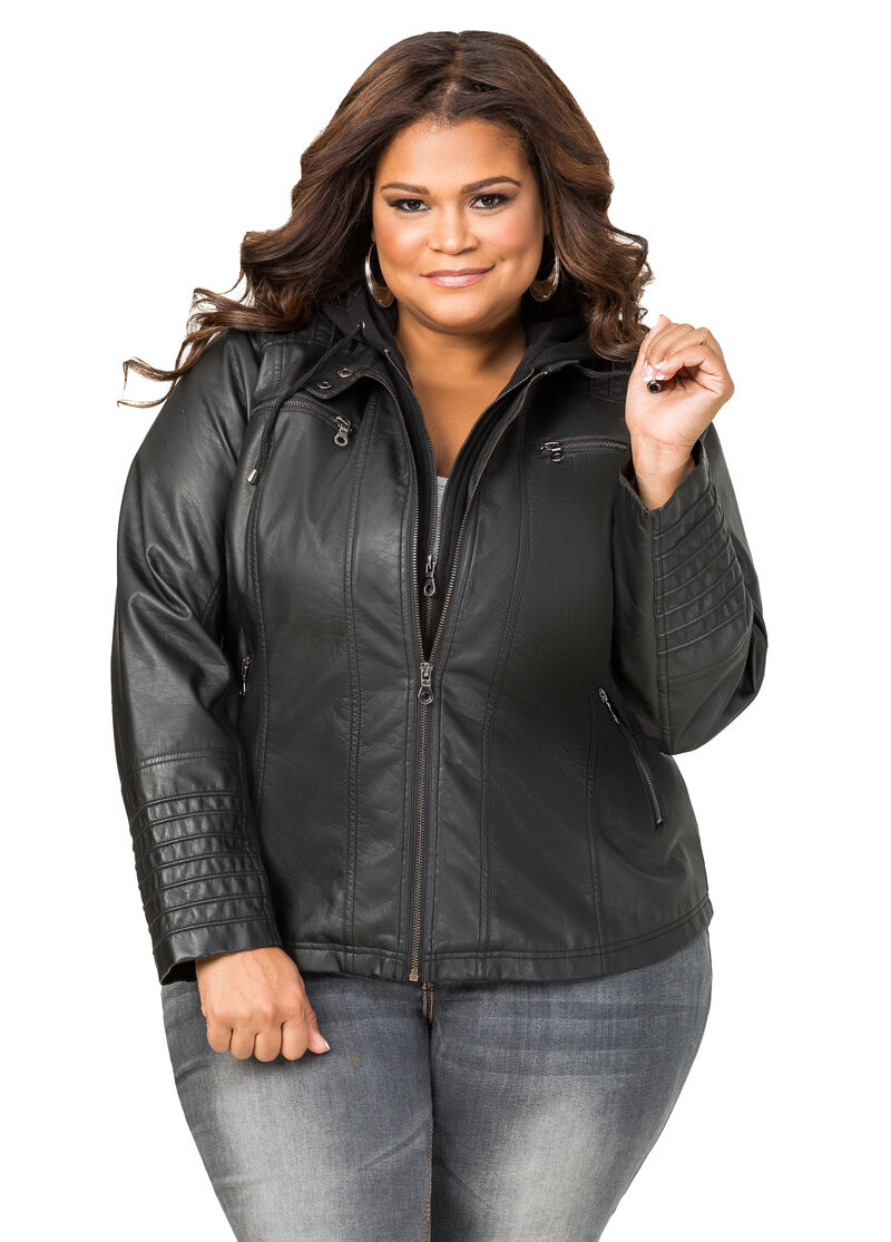 Leather jacket hoodie -  Hoodie Insert Faux Leather Jacket