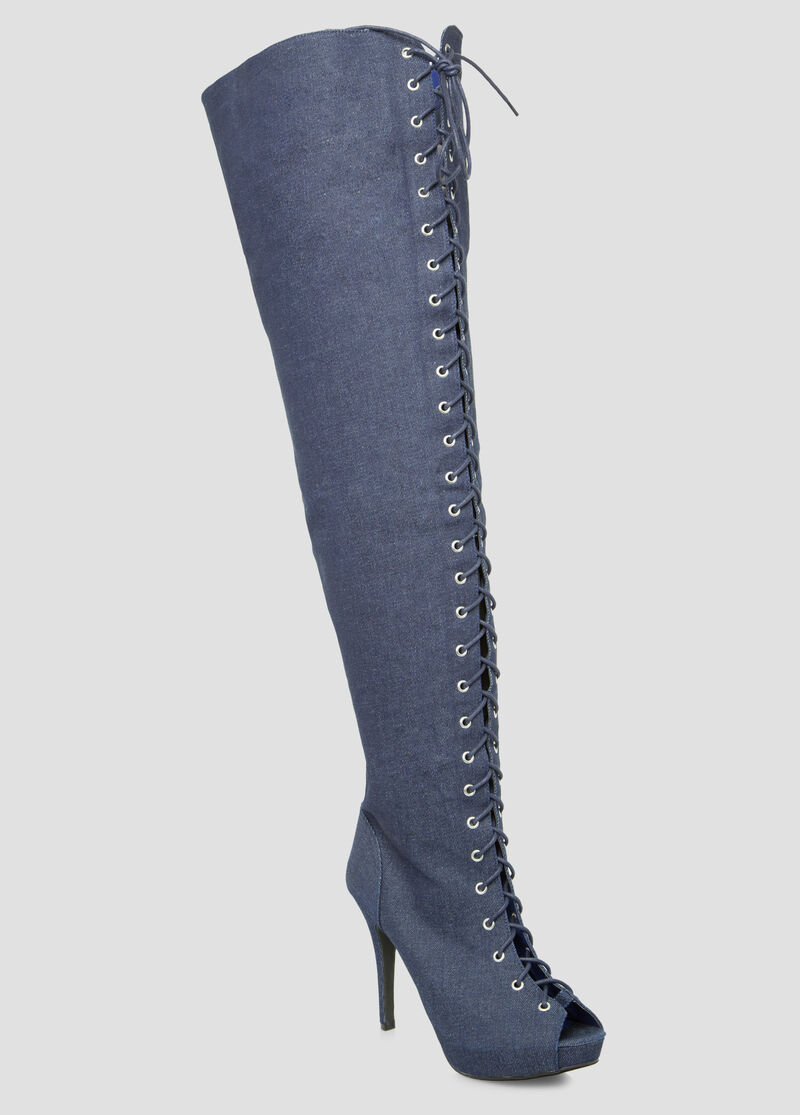Denim Thigh High Boot - Wide Calf Boots - Ashley Stewart-068-ASH29966
