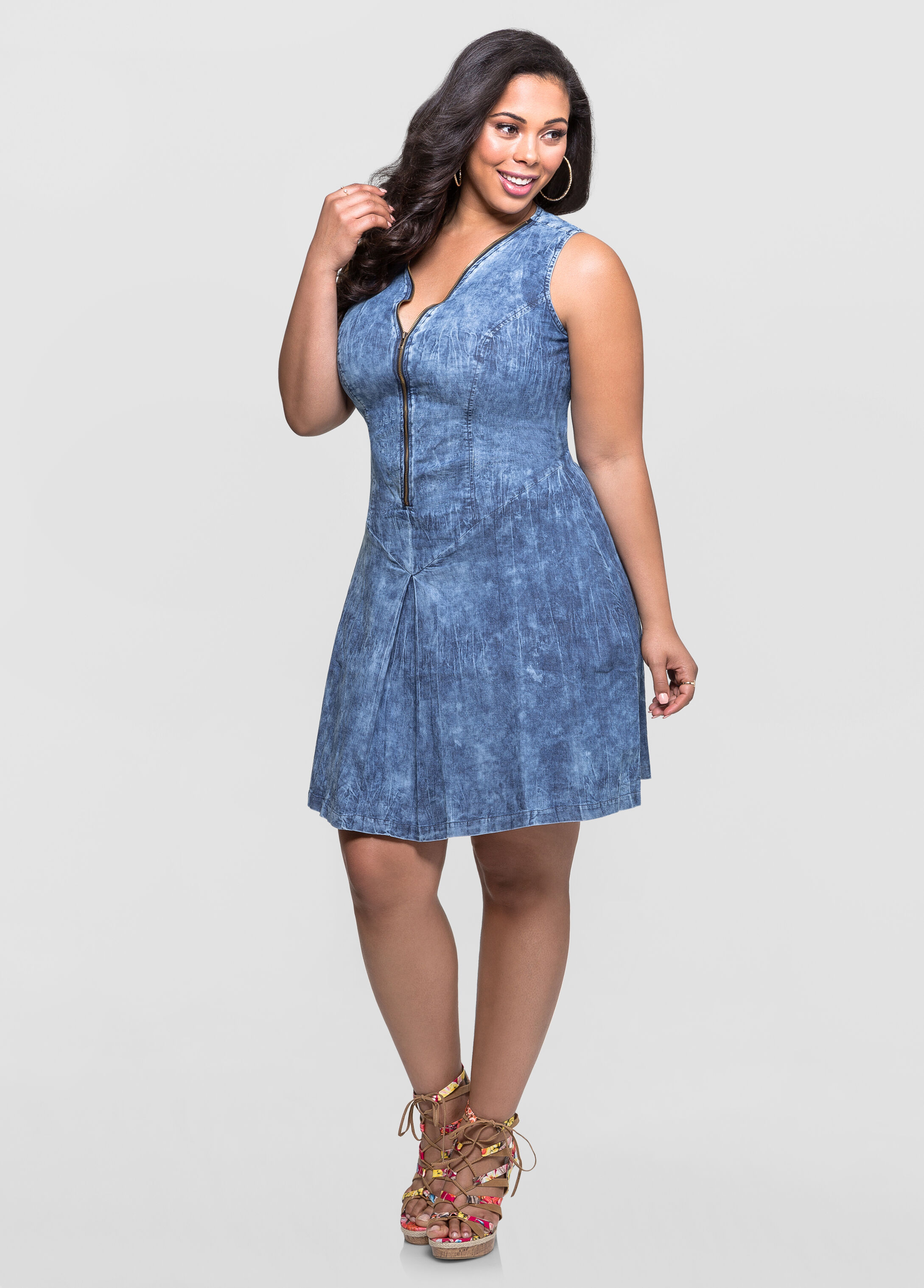 Acid Wash Denim Dress-Plus Size Dresses-Ashley Stewart-010-3167L