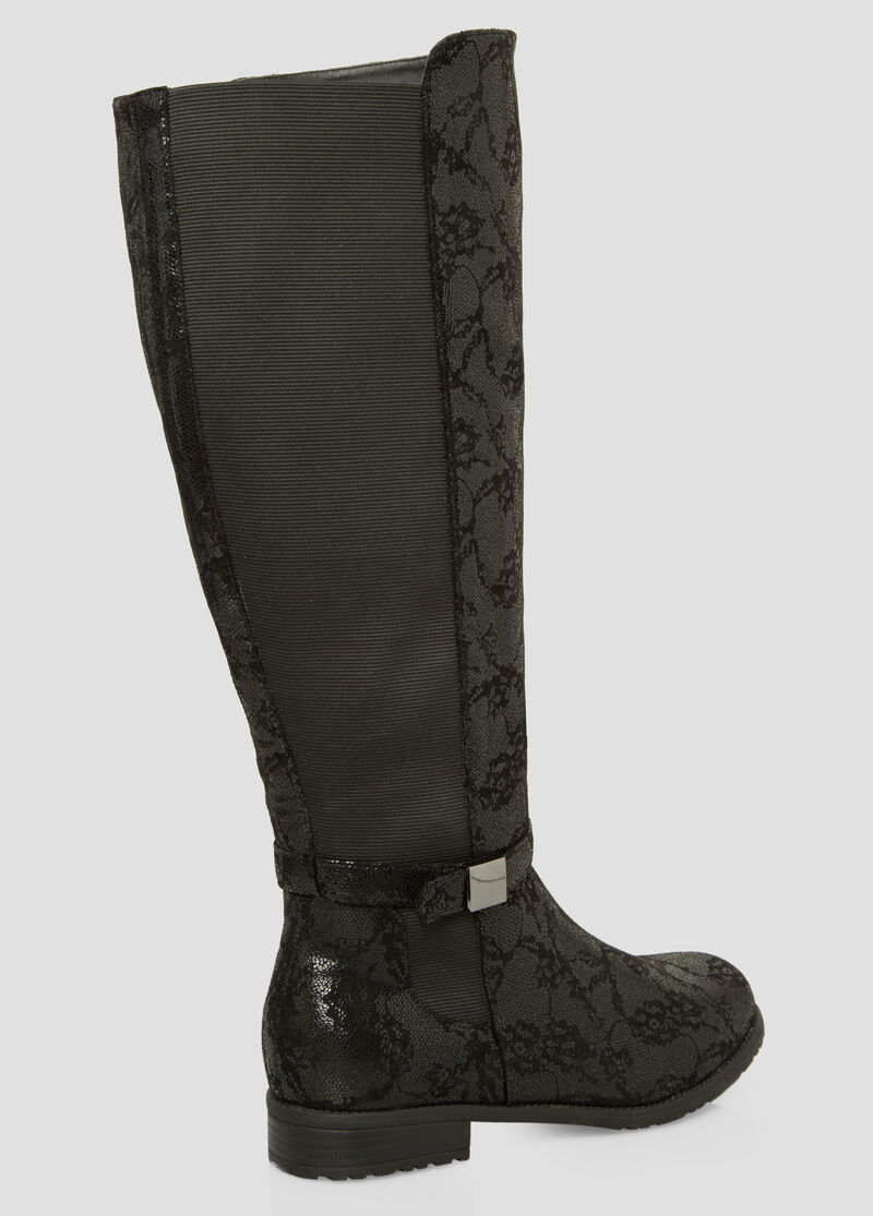 Plus Size Floral Over The Knee Boot - Wide Calf Wide Width 068 ...