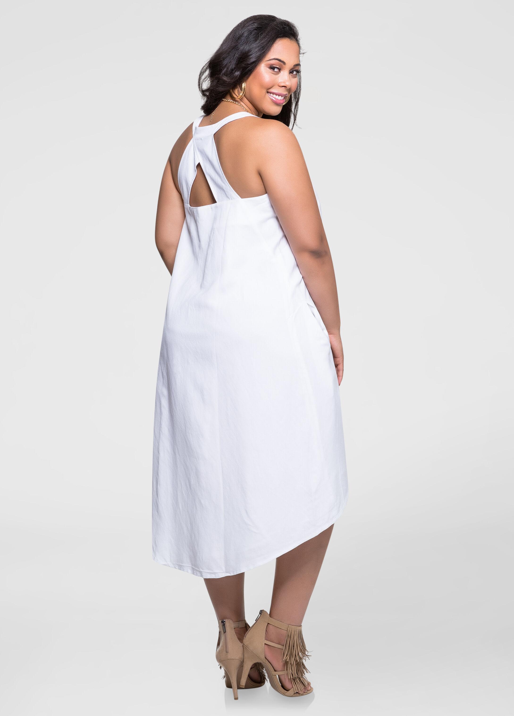 Linen Hi-Lo Shift Dress-Plus Size Dresses-Ashley Stewart-010-553546A