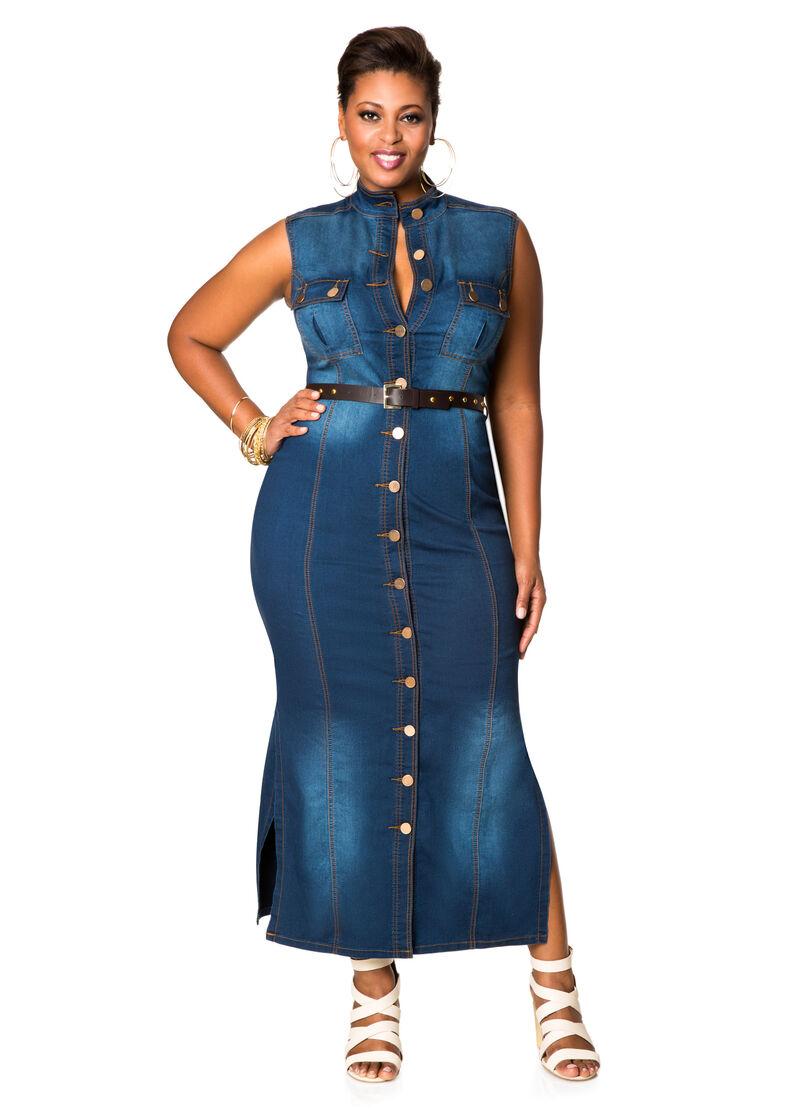 Belted Denim Maxi Dress-Plus Size Dresses-Ashley Stewart