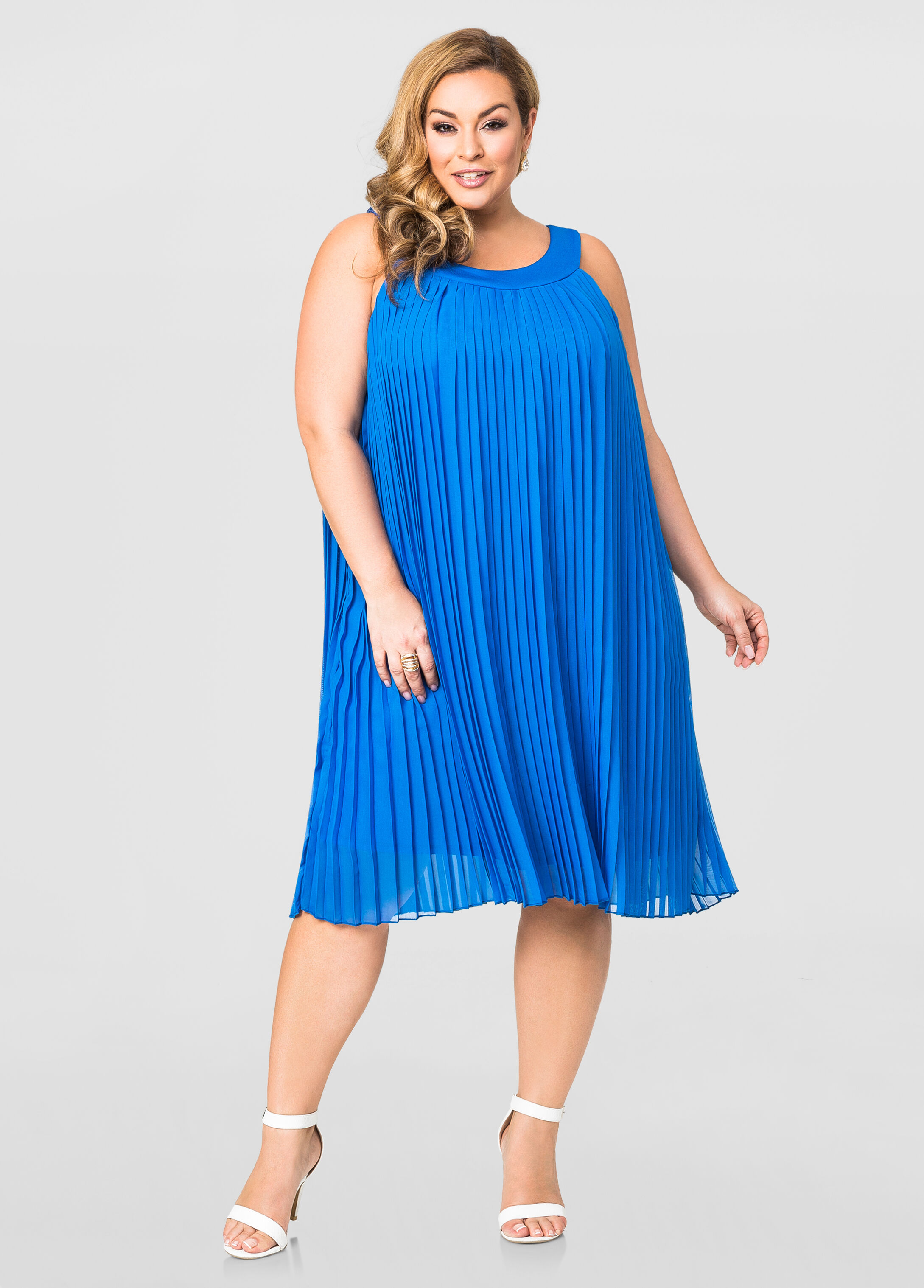 Pleated Halter Dress-Plus Size Dresses-Ashley Stewart-010-KD4846X