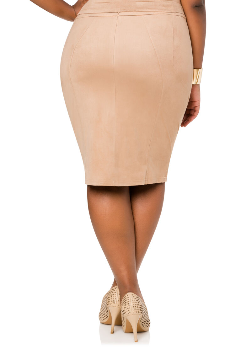 Faux Suede Pencil Skirt-Plus Size Skirts-Ashley Stewart