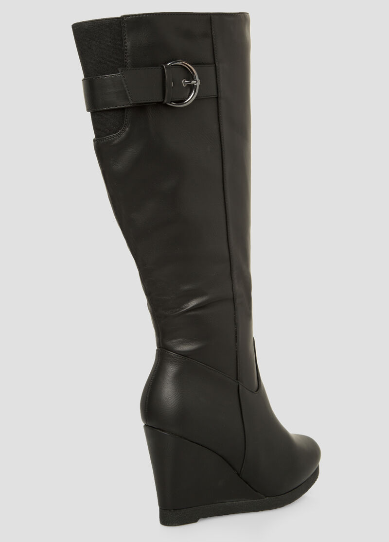 Buckle Tall Wedge Boot-Wide Calf Boots-Ashley Stewart-068-ASH23284