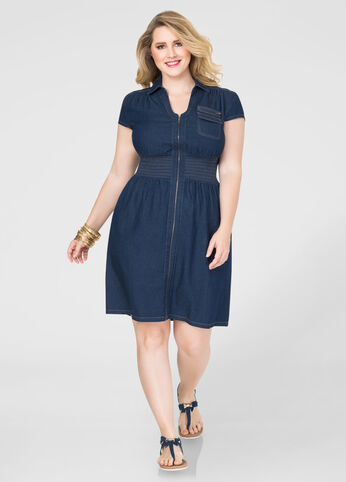 Smocked Zip Front Denim Dress-Plus Size Dresses-Ashley Stewart-010 ...