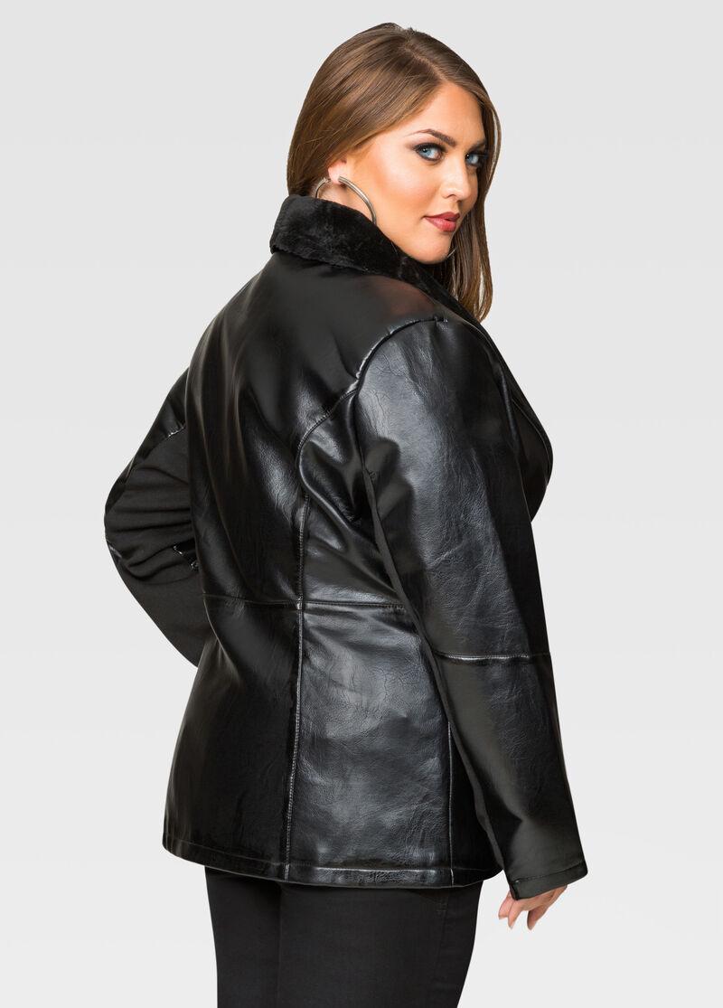 Short Fur Collar Faux Leather Jacket-Plus Size Faux Leather ...