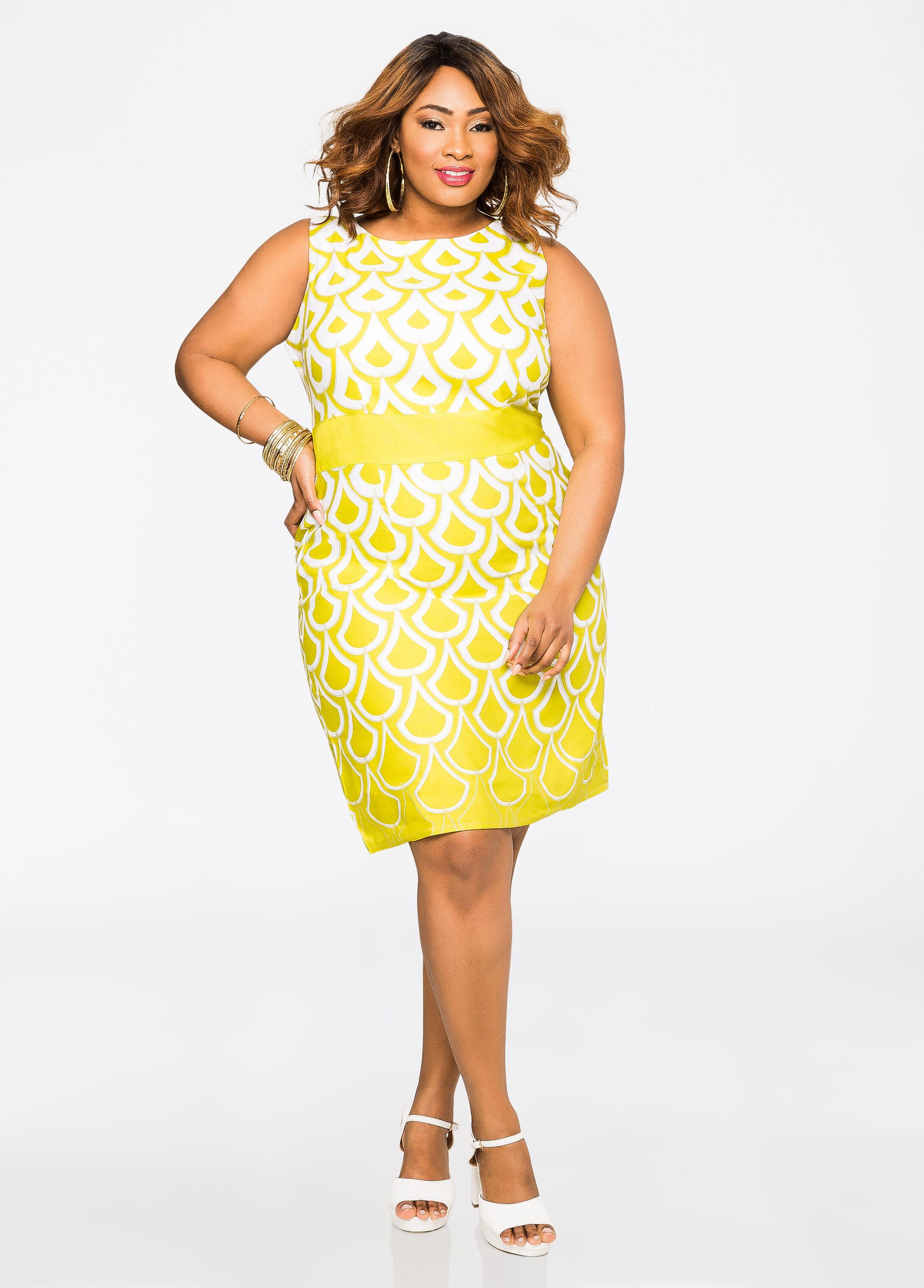 Plus Size Dresses - Mod Teardrop Linen Dress - 010-NC-2417