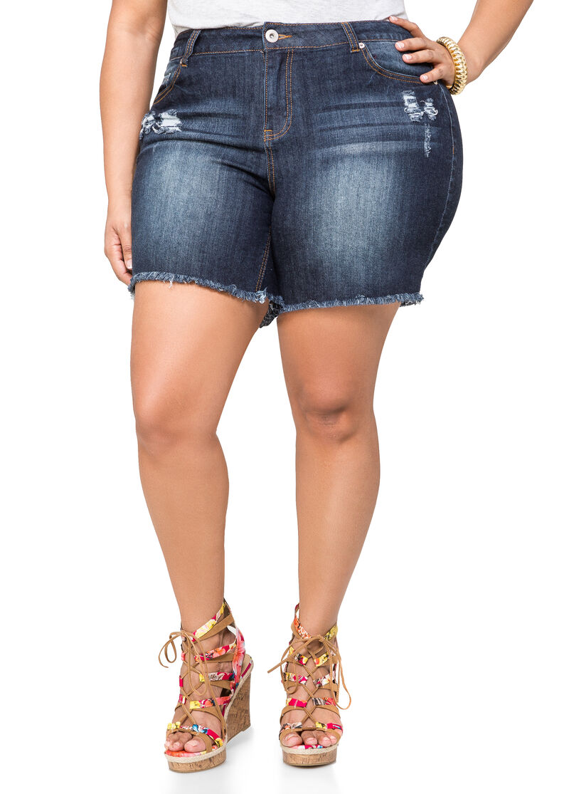 Frayed Destructed Jean Shorts-Plus Size Jeans-Ashley Stewart-034-5925X
