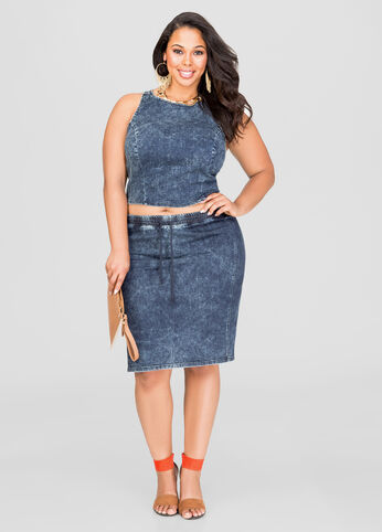Acid Wash Jean Skirt-Plus Size Dresses-Ashley Stewart-010-AS9991B