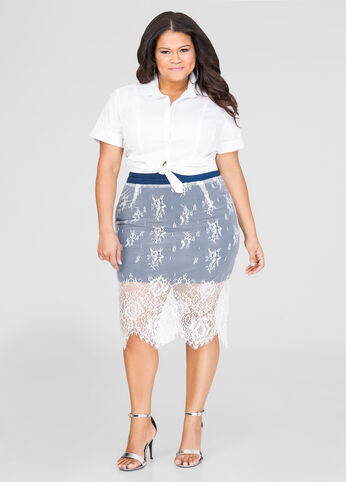Lace Overlay Denim Skirt-Plus Size Skirts-Ashley Stewart-034-3461X
