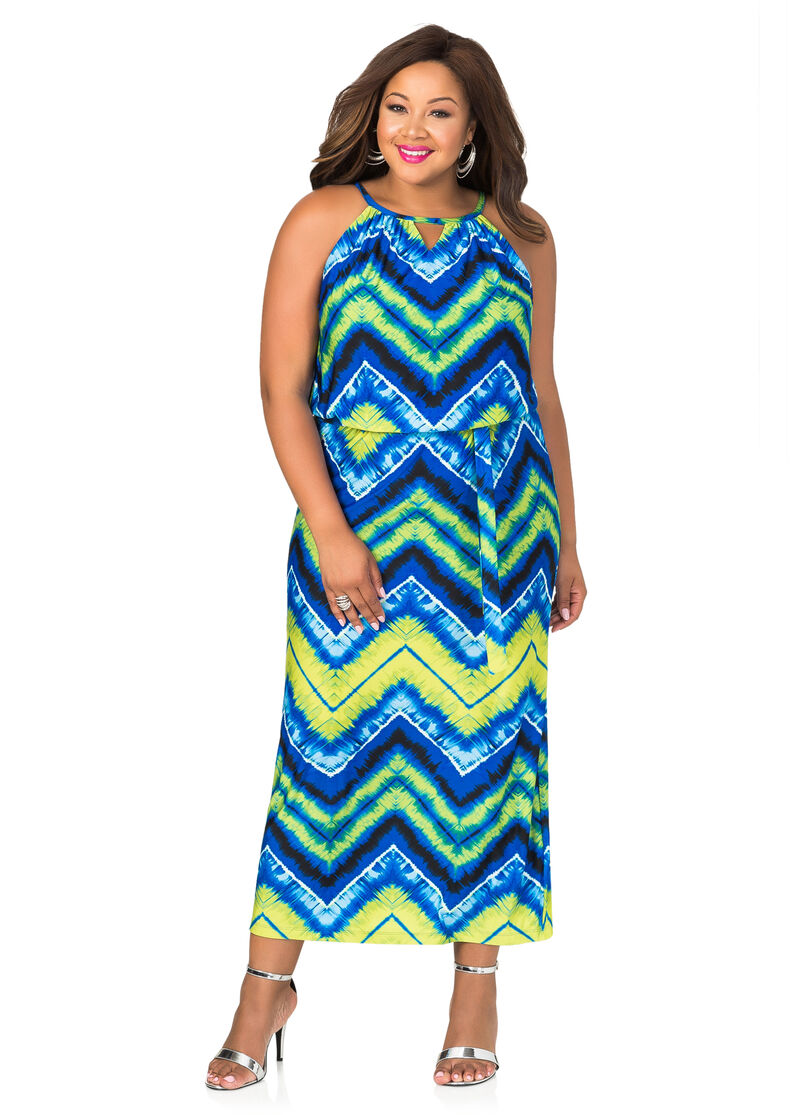 Chevron Tie Dye Maxi Dress-Plus Size Tops-Ashley Stewart-010-274W-0800