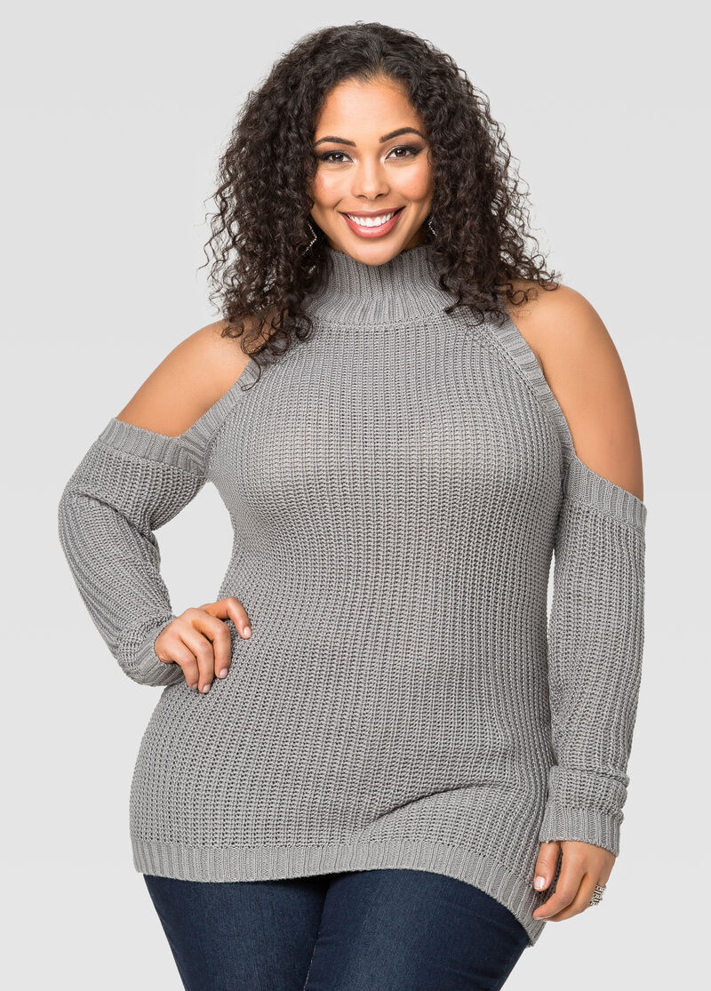 Cold Shoulder Mock Neck Sweater-Plus Size Sweaters-Ashley ...
