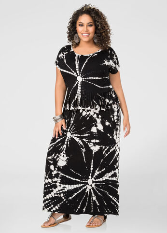 Tie Dye Maxi Skirt-Plus Size Skirts-Ashley Stewart-010-67019XASB