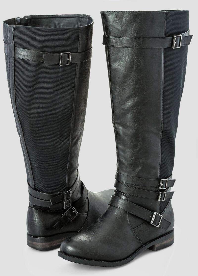 Wide Width Wide Calf Buckle Tall Boot -Wide Width Women's Shoes ...