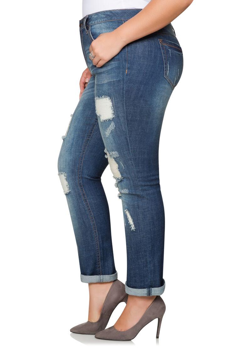 Destructed Cuffed Bootcut Jeans-Plus Size Jackets-Ashley Stewart