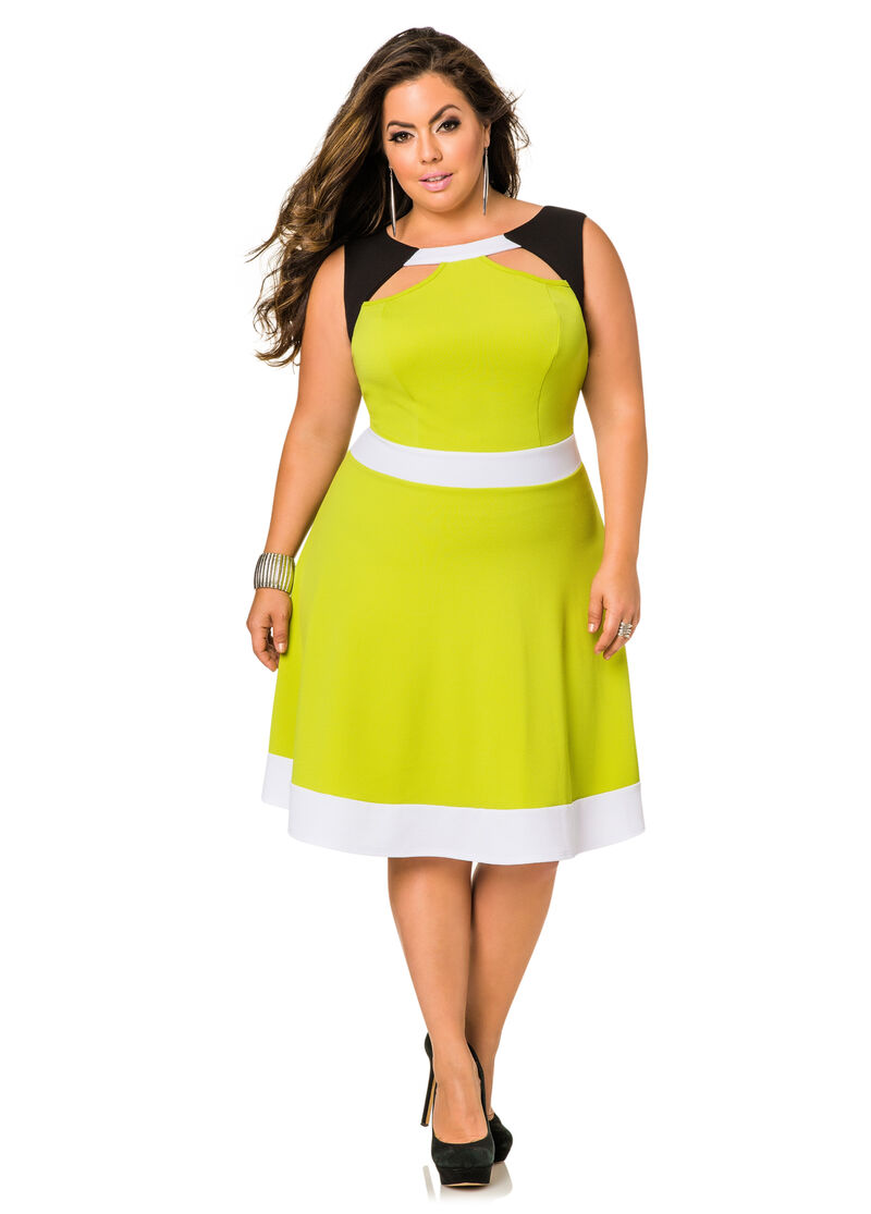 Tri-Tone Cut Out Skater Dress-Plus Size Dresses-Ashley Stewart