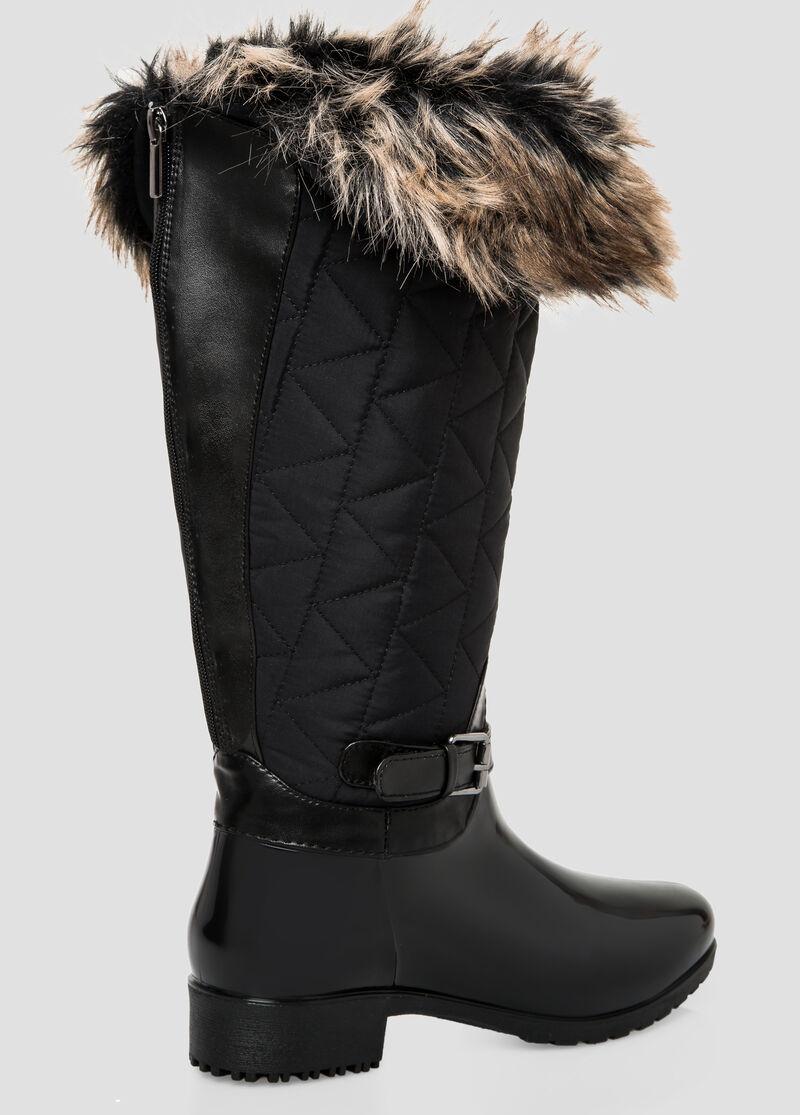 Plus Size Fur Top Snow Boot - Wide Calf, Wide Width 068-ASH21303