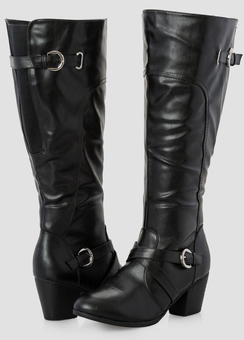 Chunky Heel Tall Boot-Wide Width Women's Shoes-Ashley Stewart