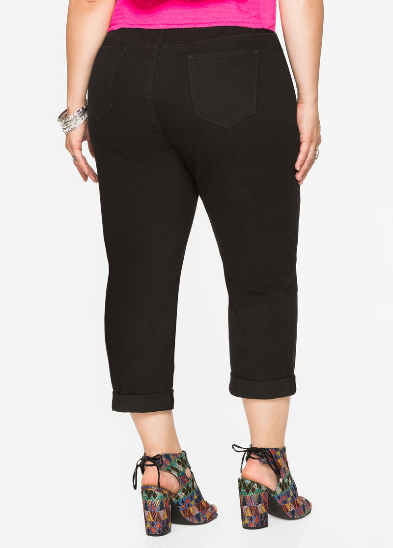 Plus Size Jeans & Denim - Cuffed Capri Trouser Style Jeans