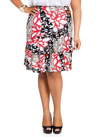 Tropical Print Ruffle Skirt