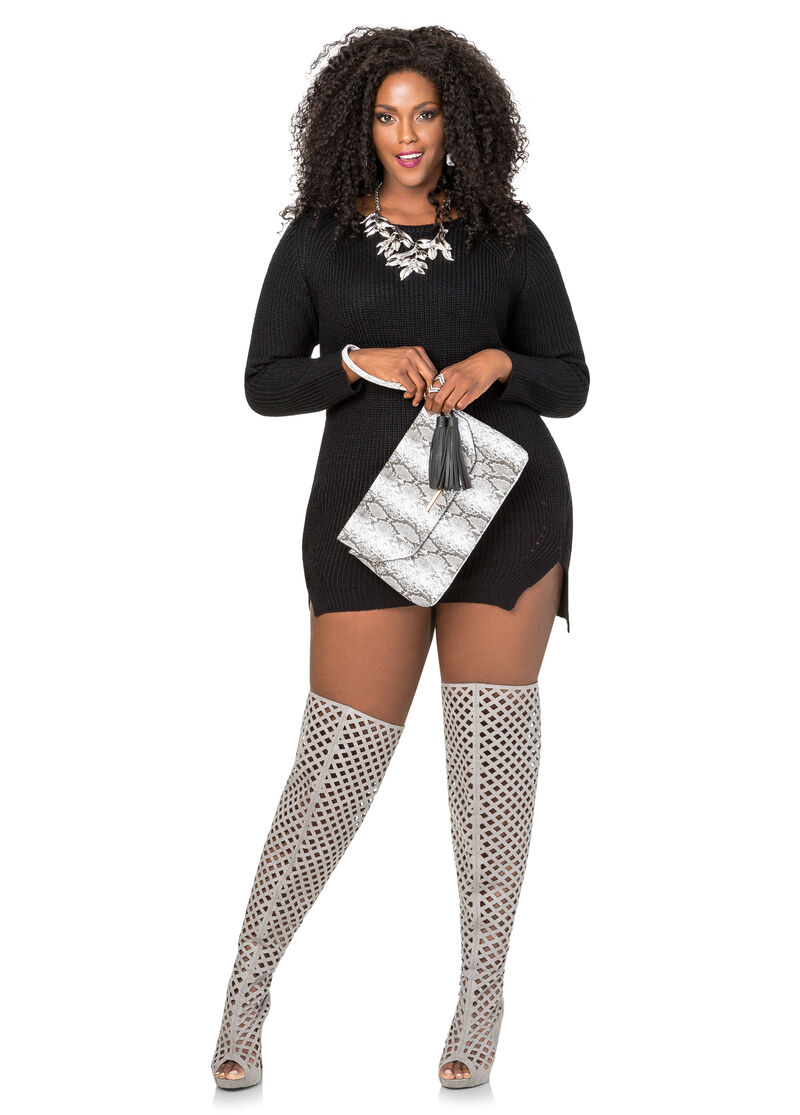 Plus Size Lattice Over The Knee Boot - Wide Calf Wide Width 068 ...