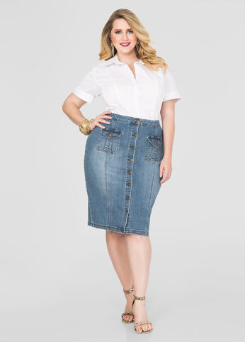 Button Front Denim Skirt-Plus Size Jeans-Ashley Stewart-034-3458X