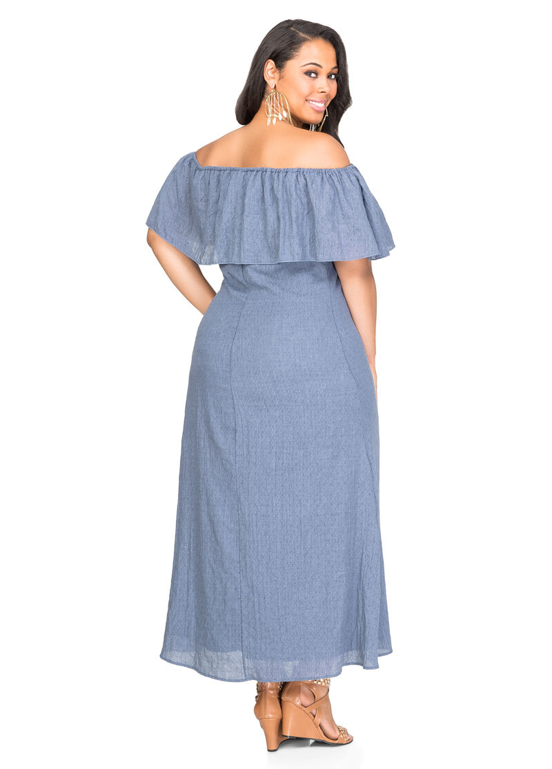 Off-Shoulder Peasant Maxi Dress-Plus Size Dresses-Ashley Stewart ...