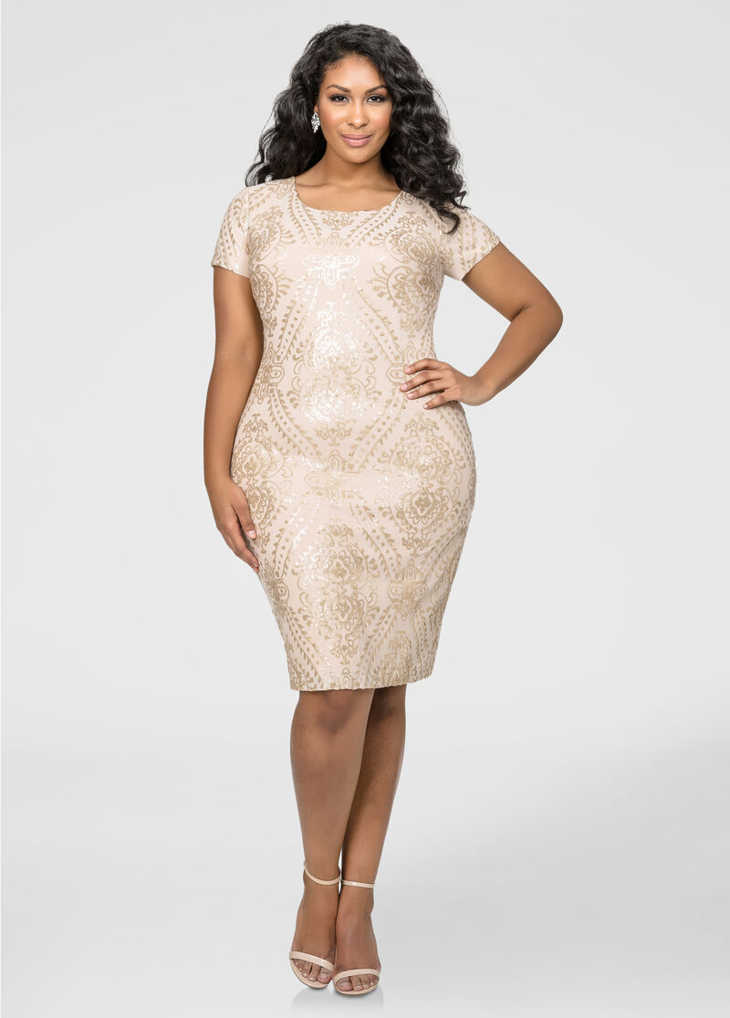 Fitted Baroque Sequin Dress-Plus Size Dresses-Ashley Stewart