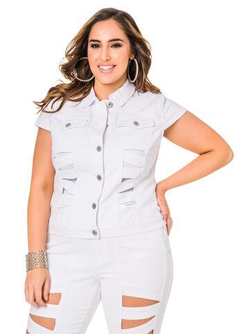Short Sleeve Lattice Cut Out Denim Jacket -Plus Size Jean Jackets ...