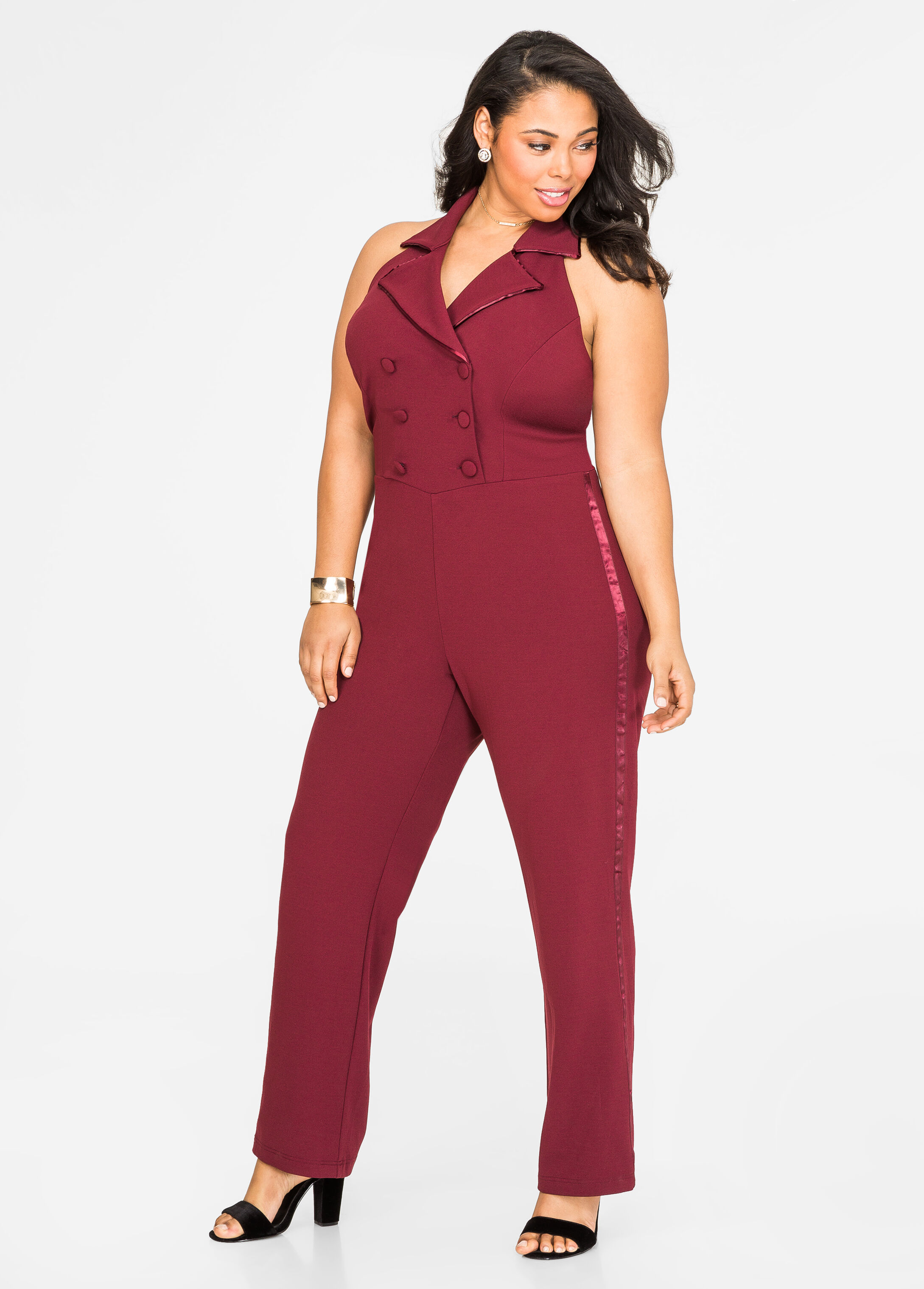 Plus Size Tuxedo Halter Jumpsuit-010-FTW368388