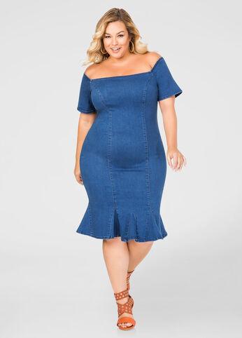 Plus Size Off-Shoulder Jean Dress 010-AS3001R