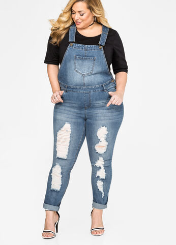 Plus Size Destructed Skinny Jean Overall-034-2507DX