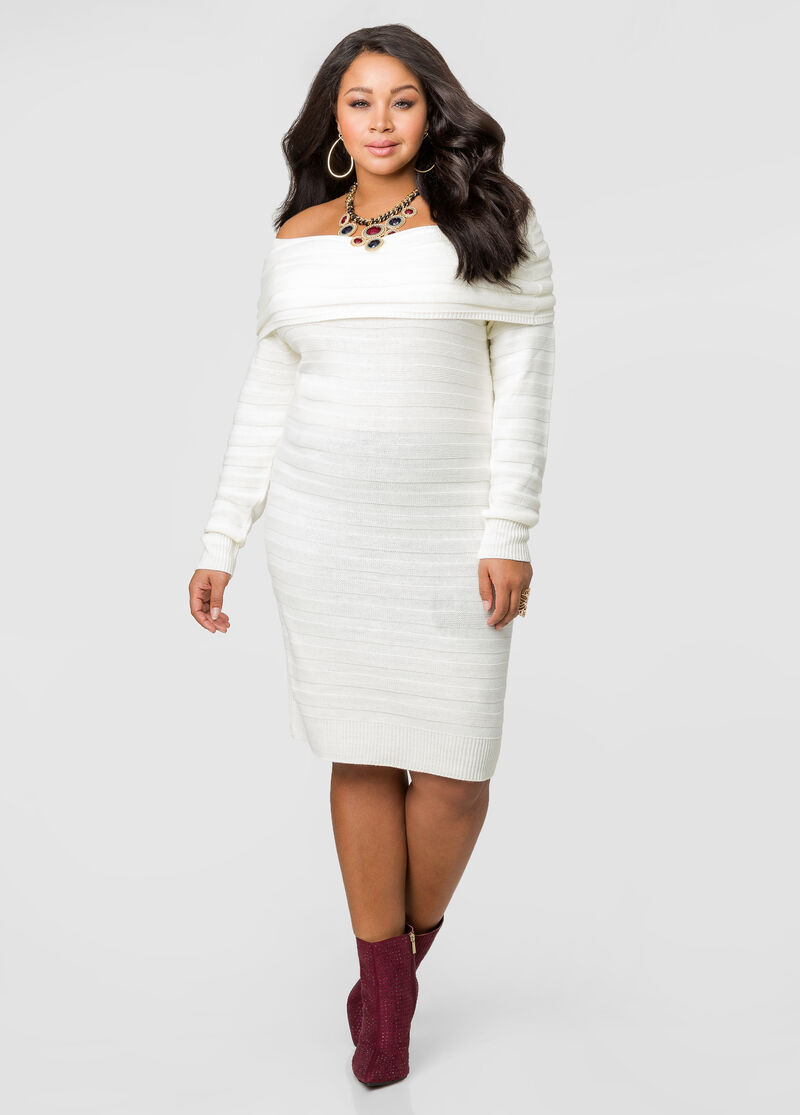 plus size white sweater dress - gaussianblur