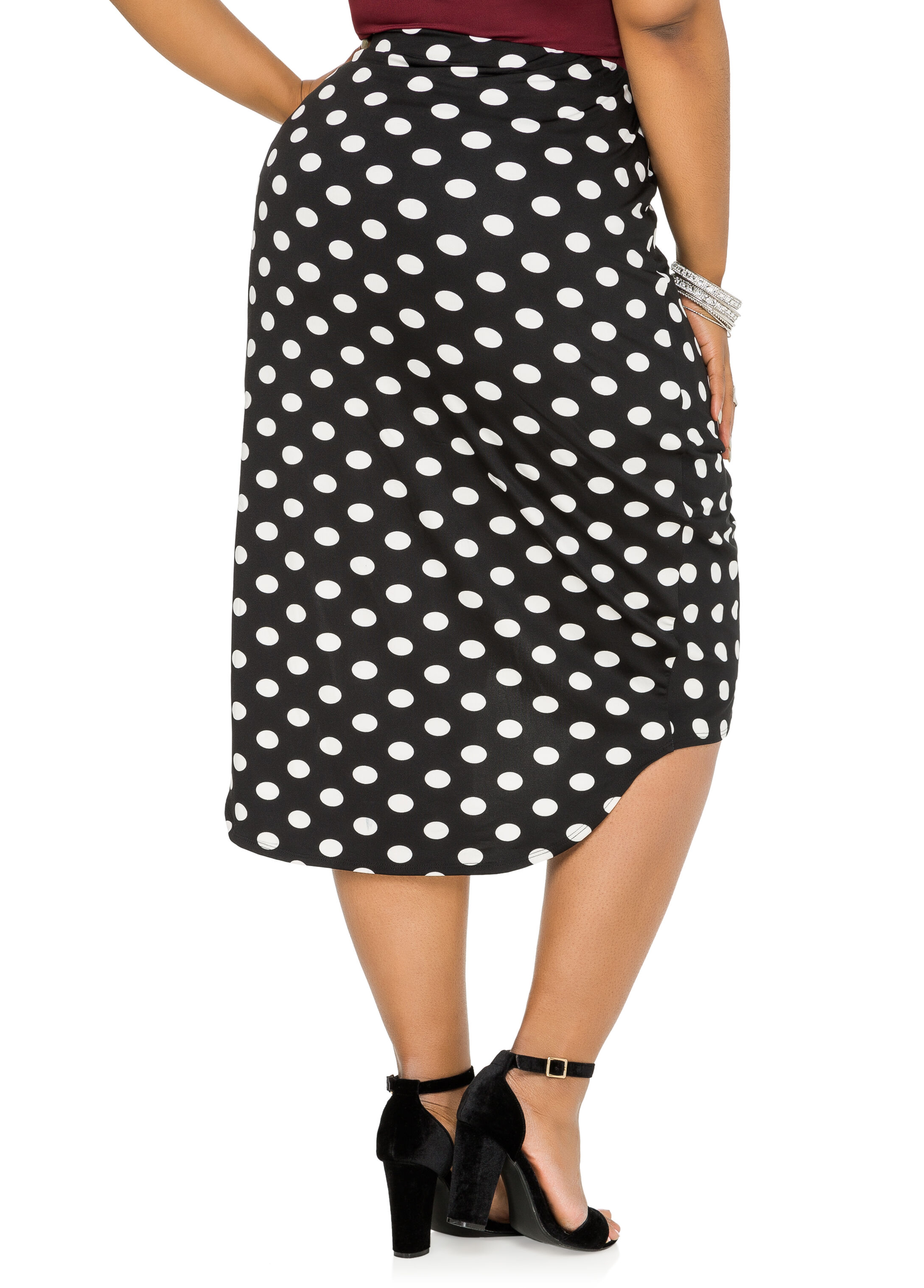 Plus Size Polka Dot Knot Waist Wrap Skirt-038-4319X
