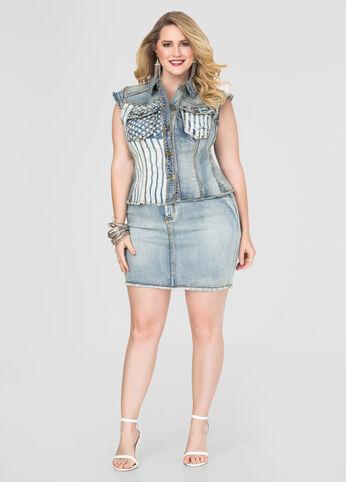 Americana Jean Mini Skirt-Plus Size Denim-Ashley Stewart-034-PA3153