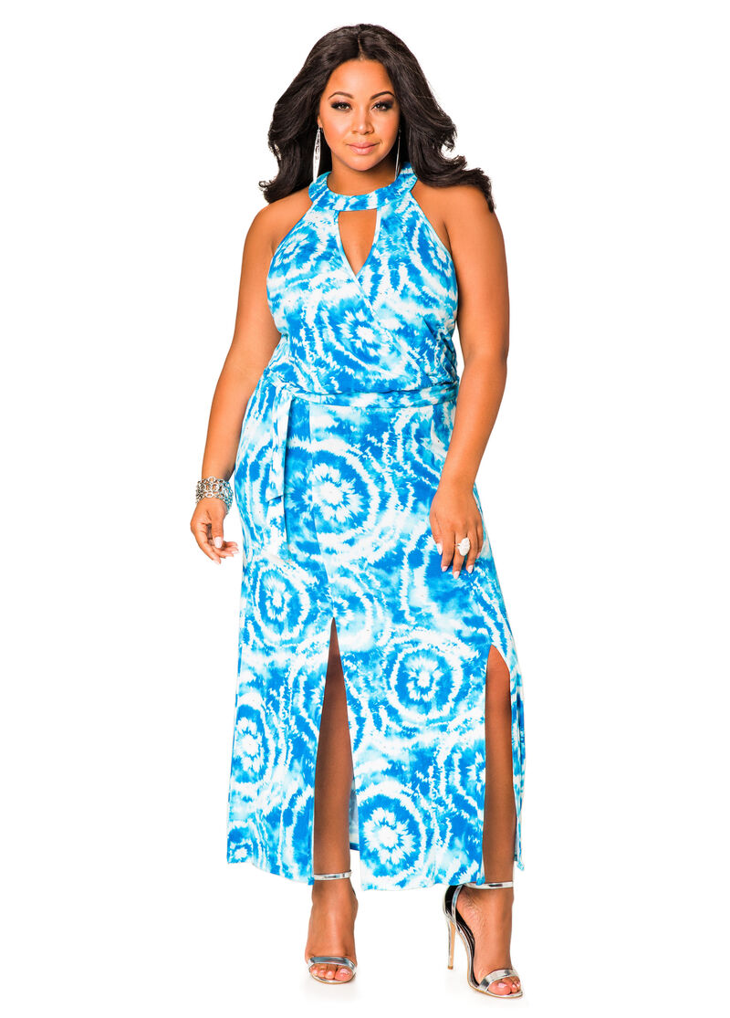 Stud Front Tie Dye Halter Maxi Dress-Plus Size Dresses-Ashley Stewart