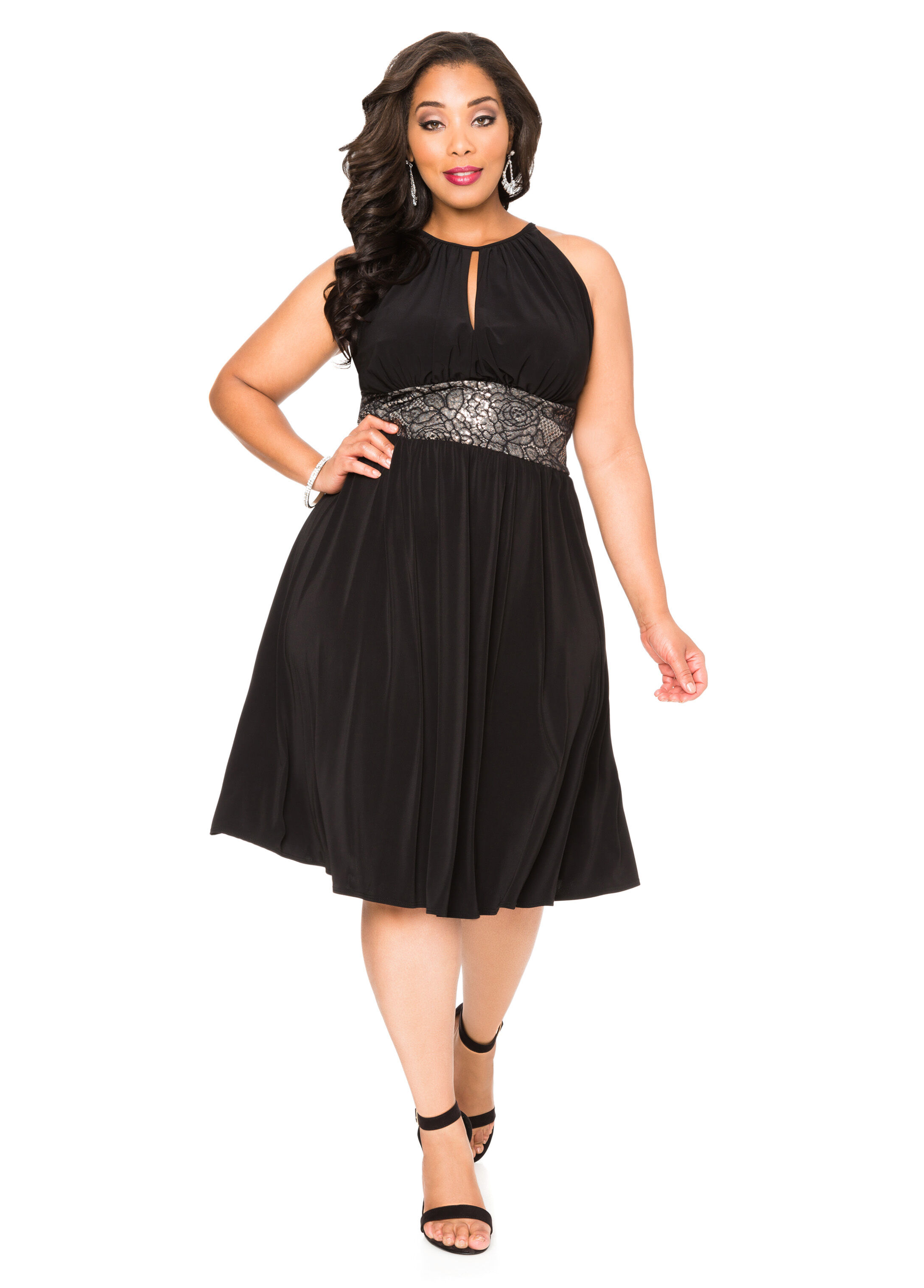 Sequin Lace Halter Dress-Plus Size Dresses-Ashley Stewart