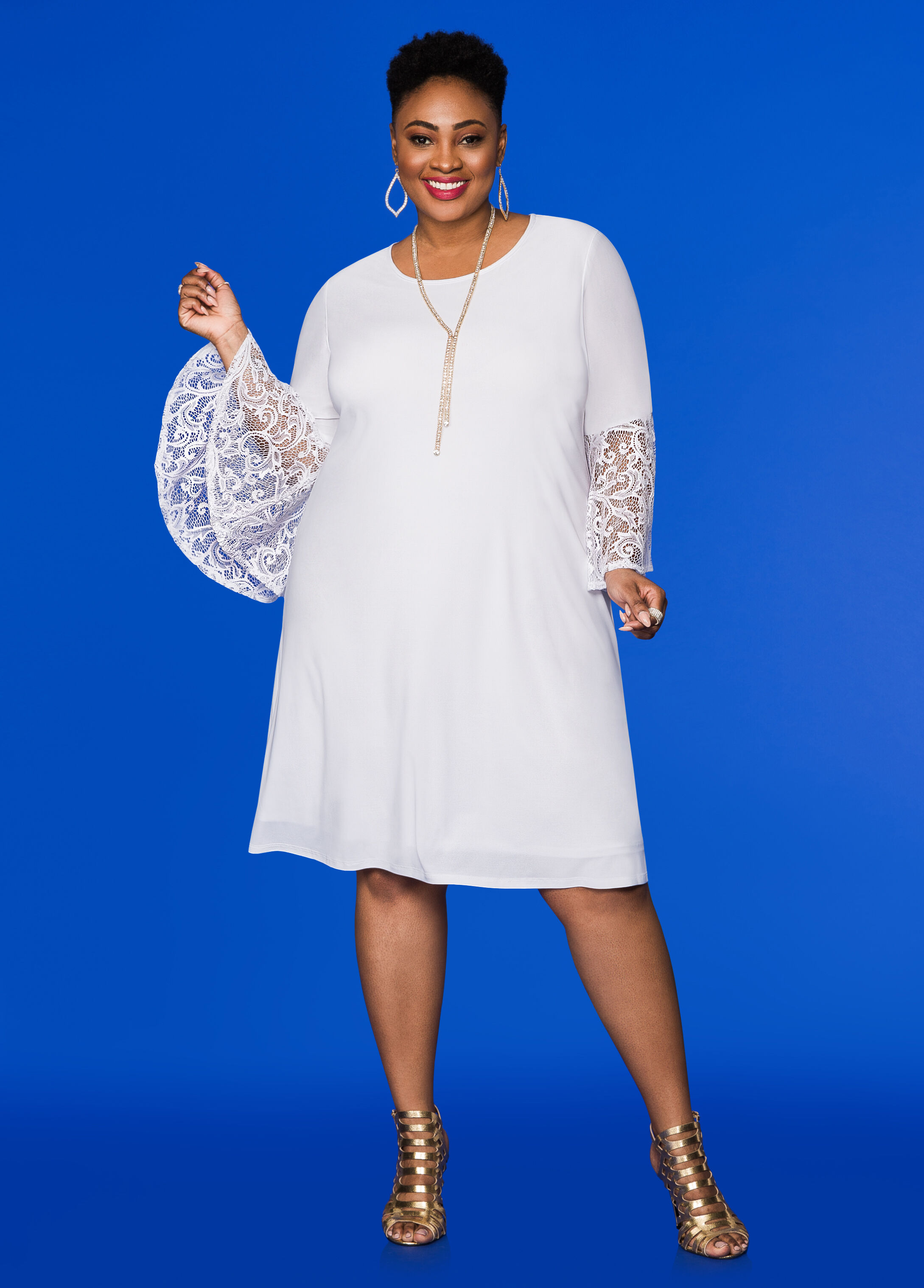 Plus Size Dresses - Lace Bell Sleeve Shift Dress