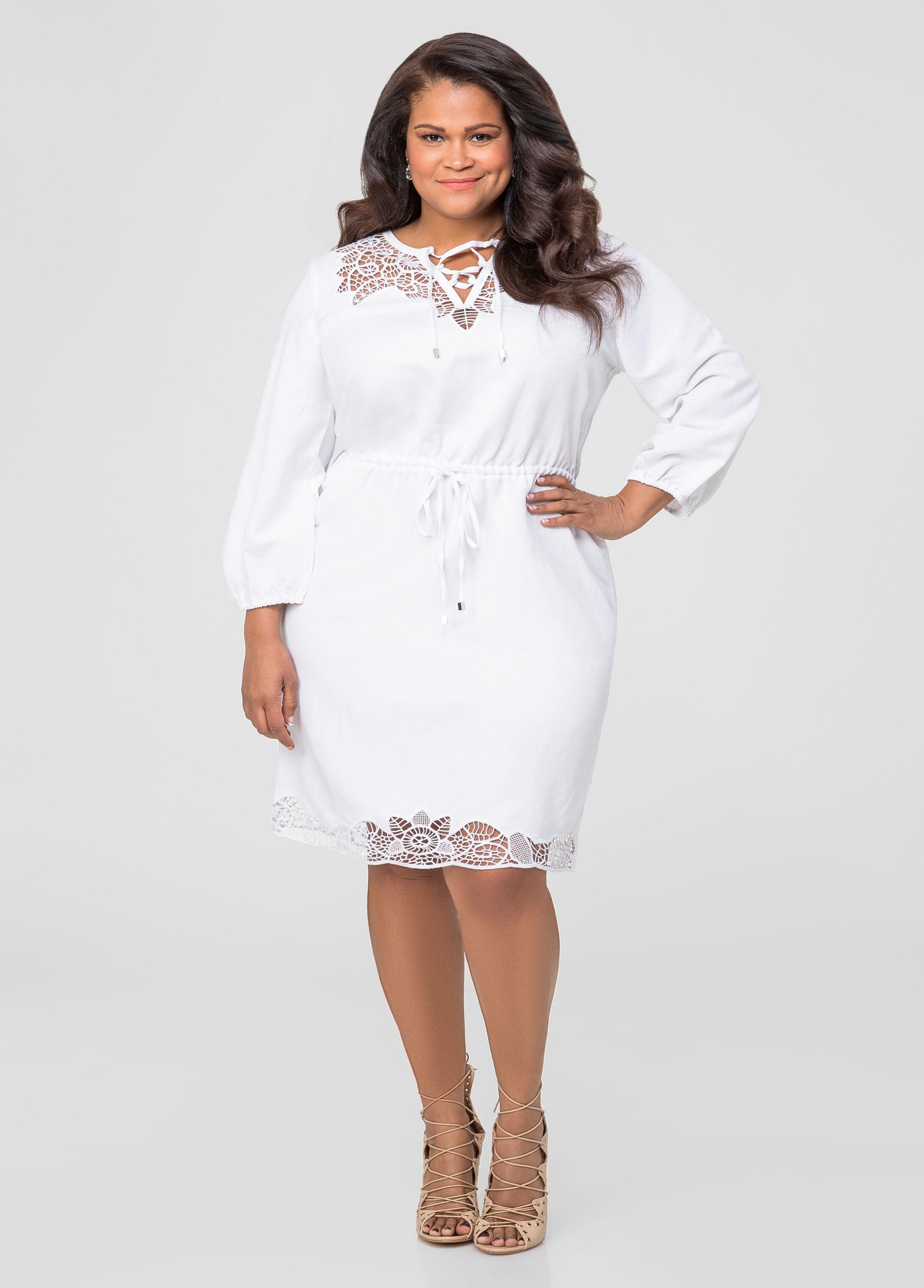 Linen Cut-Out Drawstring Dress-Plus Size Dresses-Ashley Stewart ...