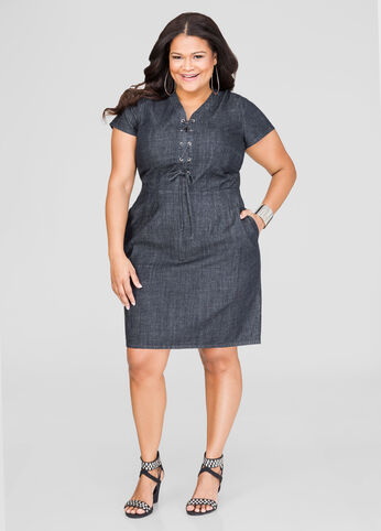 Lace-Up Denim Dress-Plus Size Dresses-Ashley Stewart-010-LWD2196DE