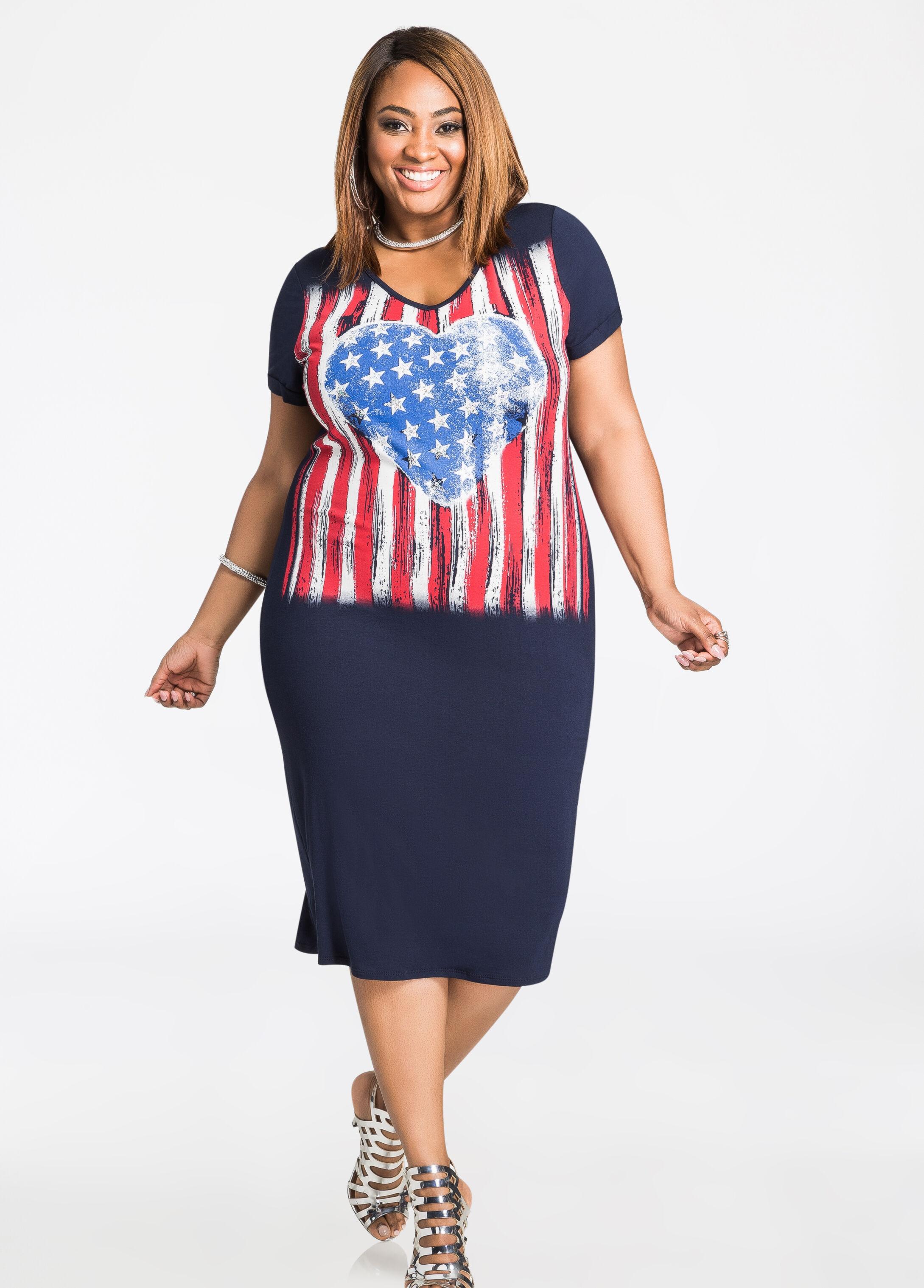 Plus Size Dresses - American Flag Heart T-Shirt Dress