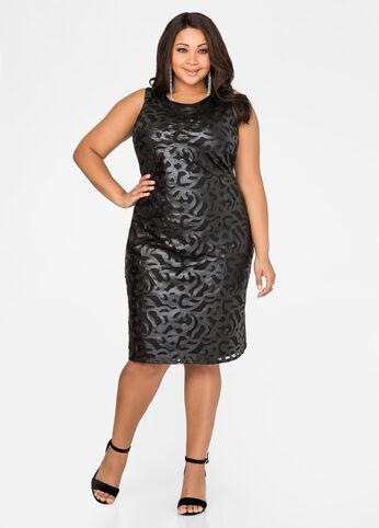 Faux Leather Brocade Sheath Dress-Plus Size Dresses-Ashley Stewart ...