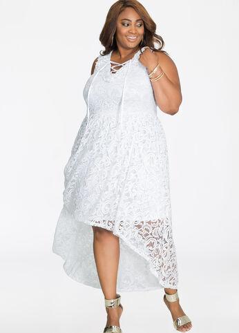 Ruffle N Lace Hi-Lo Lace-Up Maxi Dress